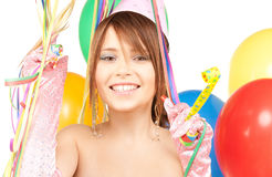 Party girl with balloons Royalty Free Stock Photography