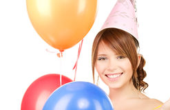 Party girl with balloons Royalty Free Stock Images