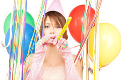 Party girl with balloons Stock Photo
