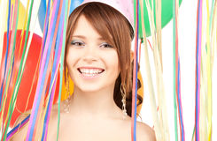 Party girl with balloons Royalty Free Stock Photo