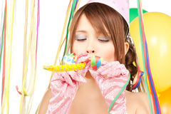 Party girl with balloons Stock Photos