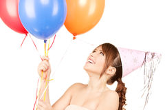 Party girl with balloons Stock Photography