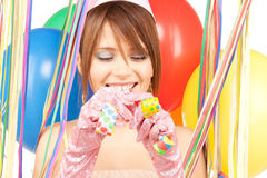 Party girl with balloons Royalty Free Stock Photos