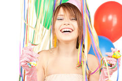 Party girl with balloons Royalty Free Stock Image