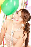 Party girl with balloons Stock Image