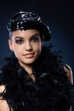Party girl in black sequin hat and boa Stock Photos