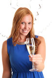 Party girl with champagne glass Stock Images