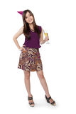 Party girl chill out, full body on white Stock Photo