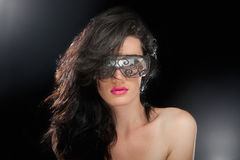 Party girl in club glasses royalty free stock images