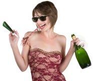 Party girl com vinho e Kazoo Imagem de Stock