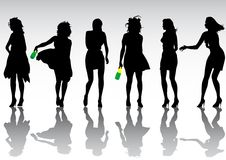 Party girl crowd. Vector drawing of dancing girl. Silhouette of the crowd on a white background Stock Photos