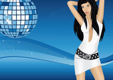 Party girl dancing at the disco. Mirror ball and background with blue waves and stars Royalty Free Stock Photo