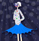 Party-Girl, das Maske hält stock abbildung