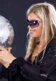 Party girl with disco ball Royalty Free Stock Photos