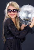 Party girl with disco ball Royalty Free Stock Image