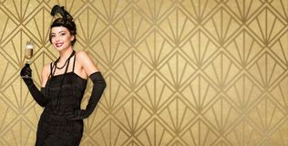 Party girl do estilo do art deco fotos de stock royalty free