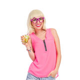 Party girl in funny star shaped glasses Stock Images
