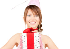 Party girl with gift box Stock Photography