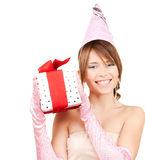 Party girl with gift box Stock Images