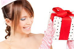 Party girl with gift box Royalty Free Stock Image