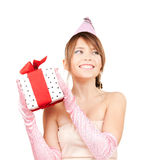 Party girl with gift box Royalty Free Stock Photography