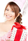 Party girl with gift box Stock Photo