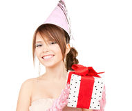 Party girl with gift box Royalty Free Stock Photo