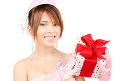 Party girl with gift box Stock Photos