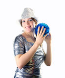 Party girl with hat and disco ball Stock Photography