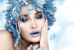Party Girl. Holiday Makeup and Hairstyle stock photos