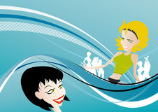 Party girl illustration. An illustrated view of young party girls on a blueish abstract background Stock Image