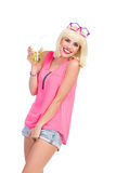 Party girl with a lime drink Stock Images