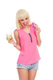 Party girl looking down Royalty Free Stock Images