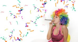 Party girl over white. Background Royalty Free Stock Photography