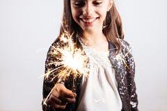 Party girl pequeno com um chuveirinho Fotos de Stock Royalty Free