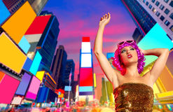 Party girl pink wig dancing in Times Square of NYC Royalty Free Stock Photo