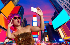 Party girl pink wig selfie photo Times Square NYC Stock Images