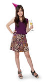 Party girl pose, full body on white Stock Photos