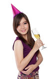 Party girl sensual pose, on white Stock Photos