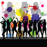 Party with girl silhouette and color Royalty Free Stock Photography