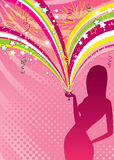 Party girl silhouette Royalty Free Stock Photo