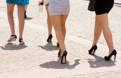Party girls. Young women in short dress went to party, Sydney, Australia Royalty Free Stock Images