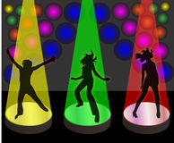 Party girls. Three young girls dancing in the spotlight Vector Illustration