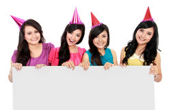 Party girls with banner Royalty Free Stock Images