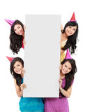 Party girls with banner Stock Images