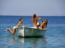 Party girls on boat Stock Image
