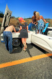 Party Girls Car Trouble Stock Photos
