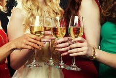 Party girls clinking flutes with sparkling wine. Group of partying girls clinking flutes with sparkling wine stock photo