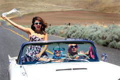 Party Girls in Convertible Stock Photography