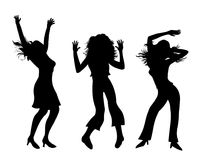 Party girls.Dancing girls silhouette illustration. Party girls dancing isolated on white background vector illustration